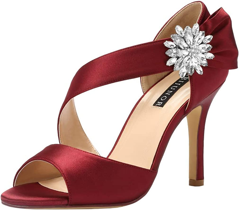 ERIJUNOR High Heel Party Sandals For Woman Open Toe Stiletto Bow Shoes Wedding Evening Dress Shoes for Dancing