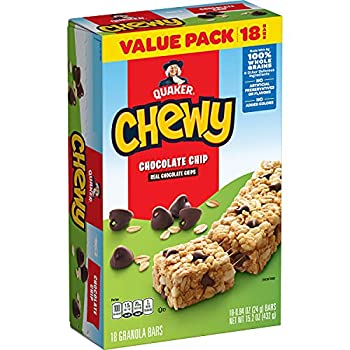 Quaker Chewy Granola Bar Chocolate Chip,0.84 Ounce  Pack of 18
