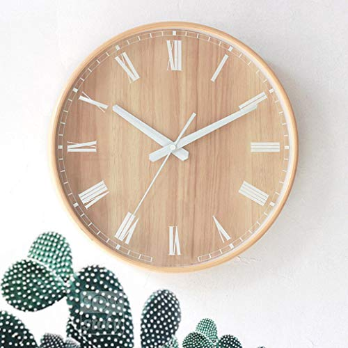 CXDIF Estilo Nórdico Relojes De Pared, De Madera Creativo Simple Reloj De Cuarzo Soporte De Espejo De Cristal Redondo, Deporte Silencioso Sala Oficina Dormitorio Moderno De Madera Maciza Reloj Decorat