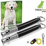 Hundepfeife und Hundeclicker von Greenpet - BONUS: Schlüsselband und E-Book - Kontrolle erlangen und Bellen stoppen - Schwarz/Silber mit einstellbarer Frequenz