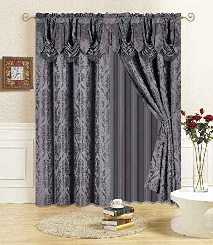 """All American Collection New 4 Piece Drape Set with Attached Valance and Sheer with 2 Tie Backs Included (63"""" Length, Charcoal)"""