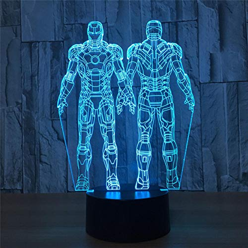 LED Night Light 3D Iron Man Mech Team Action Figure 7 kleuren Touch Illusie Optische tafellamp huisdecoratie