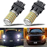 iBrightstar Newest Super Bright 3157 4157 3155 3457 Switchback LED Bulbs with Projector Replacement for Daytime Running Lights/DRL and Turn Signal Lights, White/Amber