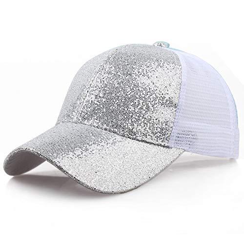 SANFASHION Damen Mädchen Mützen Baseball Cap Pferdeschwanz Baseballmütze Pailletten Unisex Baseballcap Reine Farbe Kappe (S, Silber)