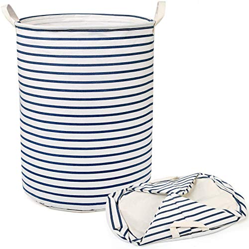 Cesto de lavandería Grande, Grueso, Grande, Impermeable, Redondo, de Tela de algodón, cesto, cesto de lavandería, contenedor de Almacenamiento Plegable (40 x 47 cm) (Blanco) (Raya Azul)