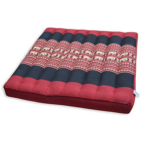 wifash Cojín Llano para Silla butaca sofá (50x50), Fabricado en Tailandia, Rojo/Negro con Elefantes (82719)