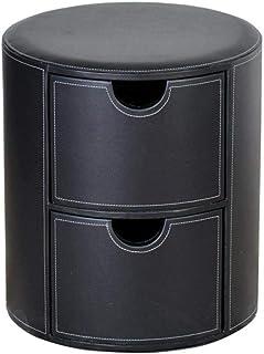 ZBYY Pouf Coffre De Rangement Rond Tabouret Coffre Coiffeuse Simili Cuir pour Chambre Couloir Max.150kg 39 * 39 * 45cm Noir