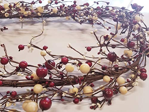 MerdCraft 55' Large Berry Pip Garland - Red, Cream, White Awesome Colors Perfect Decorating a Door, Coffee Table, Mantle Etc - Very Full Garland