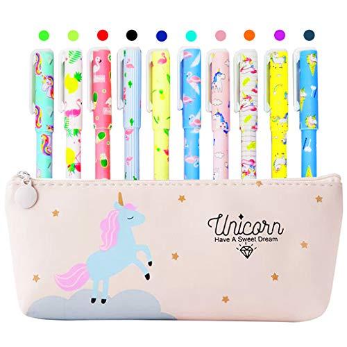 Estuche de unicornio con 10 bolígrafos coloridos de unicornio y flamencos para regalo de niñas, Maomaoyu Lindo unicornio de colores de gel , color blanco crema