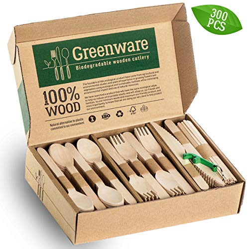 Disposable Wooden Cutlery Set | Biodegradable Compostable Flatware Combo Pack of 300-80 Forks, 80 Spoons, 40 Knives,100 Coffee Stir Sticks and Bottle Opener. Eco Friendly Alternative for Plastic
