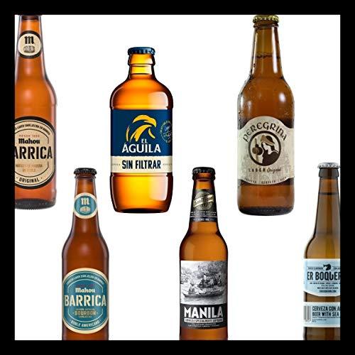 Pack de Cervezas Originales Mahou Barrica 33cl - mahou Barrica Bourbon 33cl - El Aguila Sin Filtrar 33cl - San Miguel Manila 33cl - Peregrina 33cl - Er Boqueron 33cl