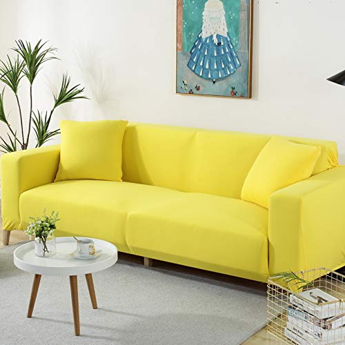 Elastisches vielseitiges All-Inclusive rutschfestes Vier-Personen-Gelb,Market Heavy Duty Baumwolle Hellgrau Sofa-Abdeckung Ersatz ist nach Maß für IKEA Schlafsofa mit Chaise Corner, Or Sectional Slip