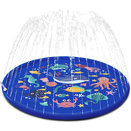 FUN LITTLE TOYS Sea Animal Inflatable Splash Sprinkler Pad for Kids, 66'' Water Toy for Summer...