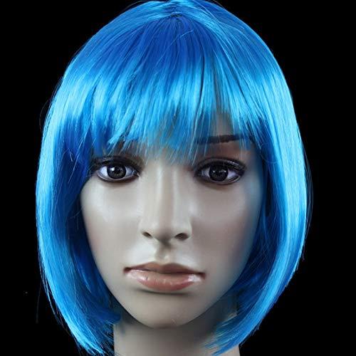 GCGY Porte Postiches African Female wig Short Hair wig Black Hair wig Small Volume Explosion Headgear European and American Hot wig Set (Couleur : Blue-A)