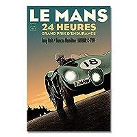 ル・マン24時間レーススポーツカーポスター絵画キャンバスプリント北欧の家の装飾壁アート写真リビングルーム用60x80cmフレームなし