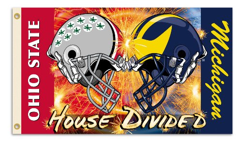 NCAA Michigan - Ohio State 3-by-5 Foot Flag Clashing Helmets with Grommets - Rivalry House Divided, Ohio State/Michigan