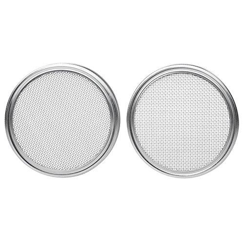 Xigeapg Tapas de brotadura de Acero Inoxidable para tarros de Boca Ancha - Tapa de colador para tarros de enlatado y Pantalla de brotadura de Semillas - 2 Piezas