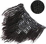 8 Piezas Extension de Clip Afro Humano para Mujeres Negras 50CM, 18 Clips Extensiones de Clip Pelo Rizado Doble Cortina 20 Pulgadas 120g 1B# Negro Natural