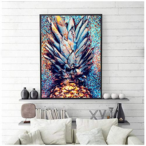 HYFBH Wohnkultur Hd Drucke Malerei Bunte Ananas Bilder Wandkunst Modulare Leinwand Poster Nacht Hintergrund Rahmen-50x70 cm Mit Innenrahmen