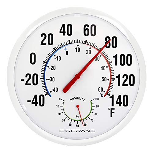Circrane 13.25 Inch Round Thermometer with Hygrometer, Large Indoor & Outdoor Wall Thermometer Patio Bimetal Weather Thermometer, No Battery Required, White