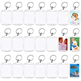 30 Pcs Acrylic Photo Frame Keyrings,Picture Snap-in Keychains,Custom Personalized Insert Photo Acrylic Clear Blank Keyring Keychain for Men Women Gifts,(2.16 x 1.5 Inch)