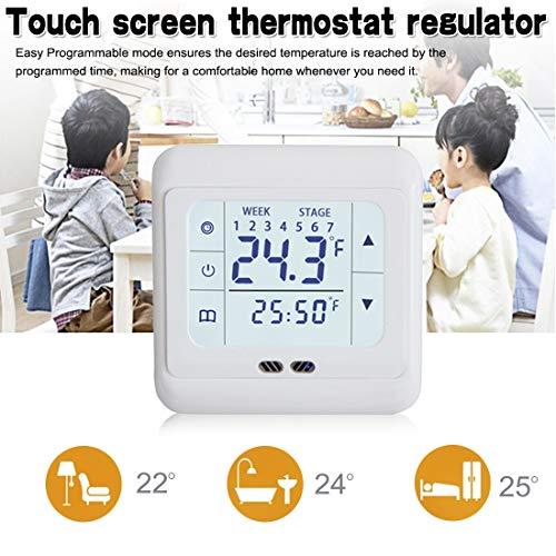 Zerkosvort Touchscreen-Thermostat, automatischer Wecker-Timing, wöchentlich programmierbarer Raumtemperaturregler für Fußbodenheizung