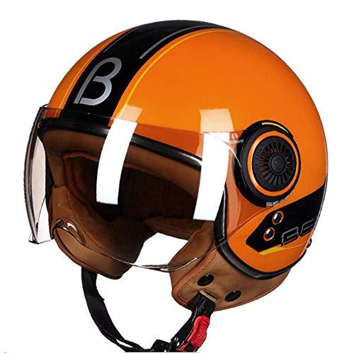 TKUI Halbschale Jet-Helm Motorrad-Helm Roller-Helm Retro Motorrad-Helm Scooter-Helm Chopper Mofa Roller Retro ECE/DOT-Zertifizierung,Orange,M(54~56cm)