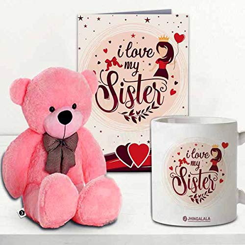 Jhingalala Gift for Sister | Teddy Bear with I Love My Sister Printed Ceramic Coffee Mug and Greeting Card | Combo Gifts for...