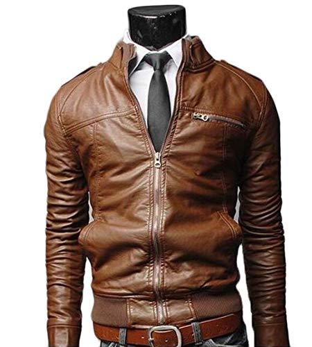 Mannen motorfiets leer racing motorjas mannen motorfiets bomber-lederen jas mantel kanten blouse slim-Fit casual cafe zwart bruin