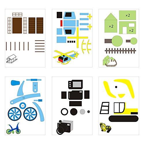 20 Stücke 3D Drucker Zeichnung Papier, Zeichnung Vorlage Papier Formen für 3D Druck Stift mit 40 Cartoon Muster Kinder DIY Geschenk - 7