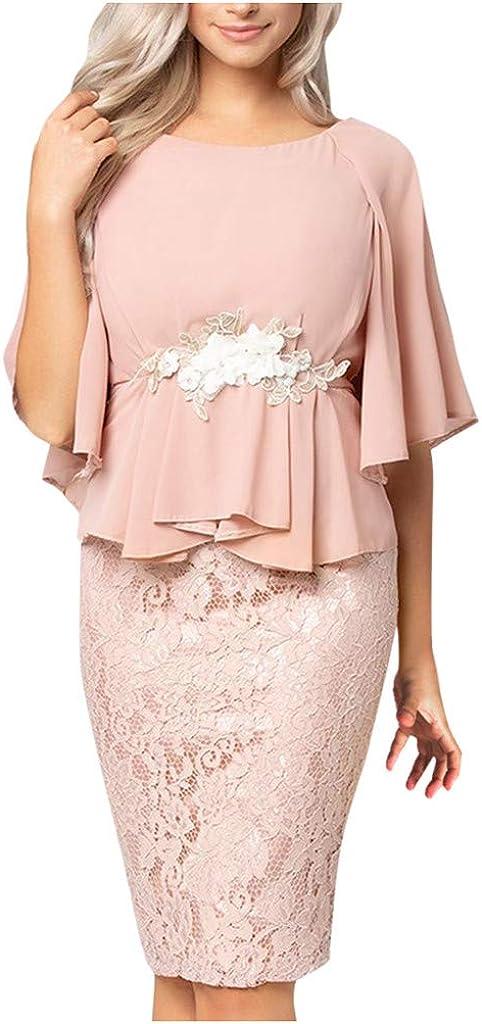 Women's Ruffles Sleeve Lace Patchwork Layer Slim Business Pencil Dress Elegant Mini Dress for Work