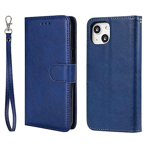 DIMDIM Caso Compatible con iPhone 13, 2 en 1 Desmontable PU De Cuero Caja de la Carpeta, a Prueba de Golpes Smartphone Cubierta con Espacio for Tarjeta y cordón for el iPhone 13 (Color : Blue)