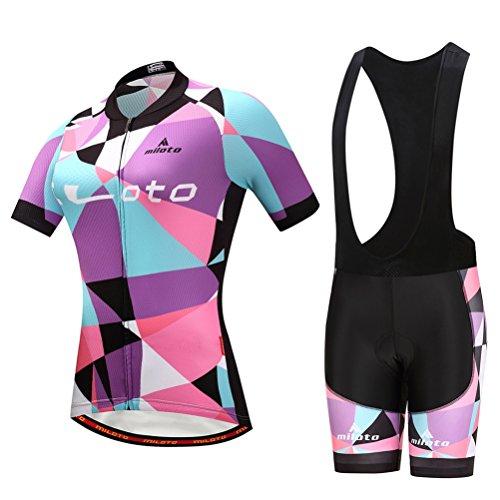 Uriah Women's Cycling Jersey Bib Shorts Sets Short Sleeve Reflective Blue Purple Size XXXL(CN)