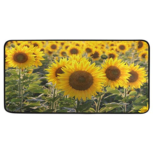 ALAZA Yellow Sunflower Floral Blossom Non Slip Kitchen Floor Mat Kitchen Rug for Entryway Hallway Bathroom Living Room Bedroom 39 x 20 inches(1.7' x 3.3')