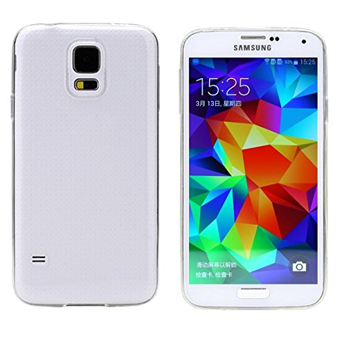 REY Funda Carcasa Gel Transparente para Samsung Galaxy S5 Mini Ultra Fina 0,33mm, Silicona TPU de Alta Resistencia y Flexibilidad