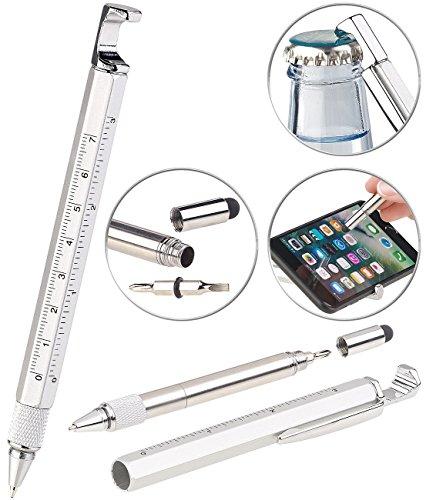 PEARL Pen: 7in1-Kugelschreiber mit Touchpen, Schraubendreher, Lineal & mehr (Multifunktionskugelschreiber)
