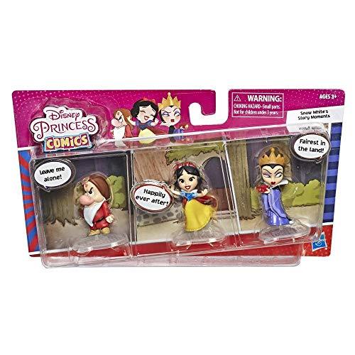 Disney Princess Comics Muñecas, Blancanieves Story Moments Número 1 Wish with Evil Queen y Grumpy, 3 Figuras de Juguete coleccionistas y Tira cómics