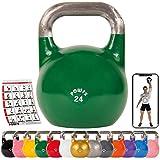 POWRX Kettlebell Pesa Rusa Competición 4-28 kg + PDF Workout (24 kg)