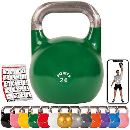 POWRX - Professionelle Kettlebell 4-28 kg + Affiche d´entraînement PDF
