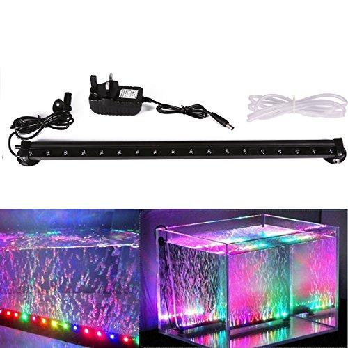 Xcellent Global Luci Multicolore a 18 LED con Bolle d'Aria per Acquario Impermeabili Sommergibili 46 cm con Presa I-LD081