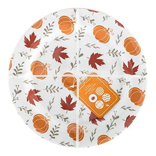 C.R. Gibson QAPS2-24068 Fall Leaves and Pumpkins Reusable Melamine Plate Set for Thanksgiving Dinners, 9' Diameter, 4pcs