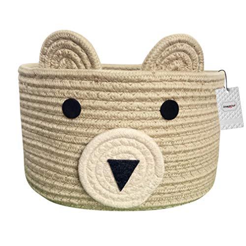 Inwagui Baumwolle Seil Aufbewahrungskorb Faltbar Aufbewahrungsbox Kinderzimmer Deko Bär Korb Baby Spielzeug Organizer Windeltasche - Khaki