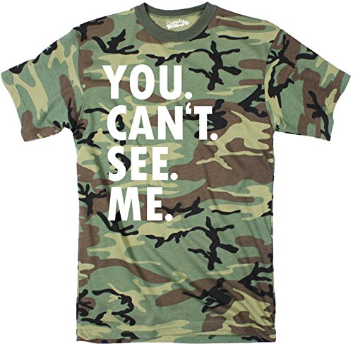 Mens You Cant See Me T Shirt Funny Hunting Camouflage Sarcastic Adult Humor Tee (Camo) - L
