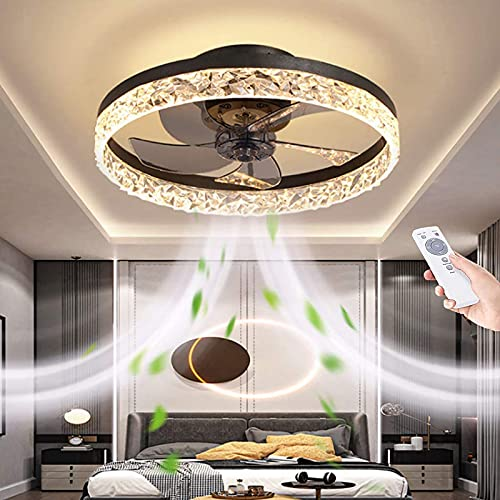 19.7' Ceiling Fan With Light And Remote Control,Modern Flush Mount Ceiling Fan Light Kit,Round Hidden Reversible Blades Household Fan Chandelier With 3 Colors 6 Speeds Timing Low Profile Fan (Black)