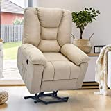 Esright Microfiber Power Lift Electric Recliner Chair with Heated Vibration Massage Sofa Fabric Living Room Chair with 2 Side Pockets, USB Charge Port & Massage Remote Control, Beige