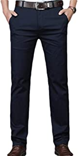 Mogogo Mens High Waist Business Regular Fit Easy Care Plain-Front Dress Pant