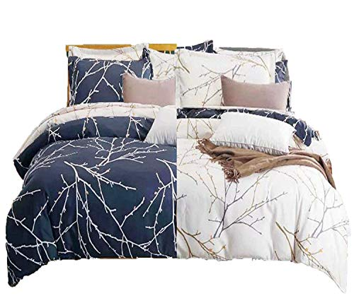 Cozyholy Duvet Cover Set 3 Piece Reversible Branches Pattern Printed, Soft Microfiber Bedding Cover Set with Zipper Closure and Corner Ties (Dark Navy/Beige, King) (No Comforter)