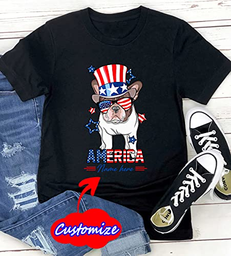 Custom Name French Bulldog America 4th of July Shirt Men, Women, Personalized Frenchie For Tank Top 4th July Patriotic Dog American Flag Sunglasses Shirt For Adults, Dog Lover, Dog Owner