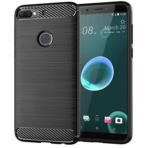 AONIR® Flexible Silicone Hybrid Back Case Cover for HTC Desire 12 Plus [Black]