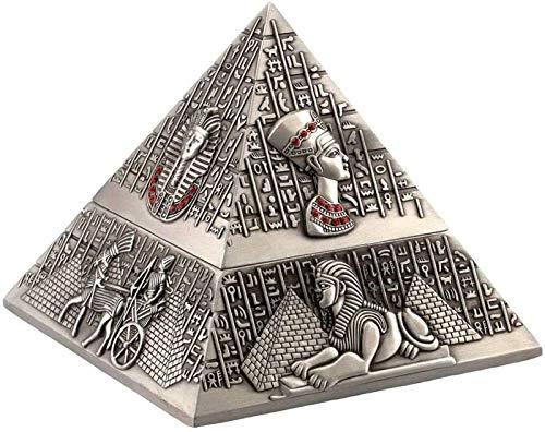 Retro klassiek met cover sigaar asbak europeaans huis hotel kantoor koffie tafel decoratie oude Egyptische sculptuur piramide decoratie-oude tin kleur schoon